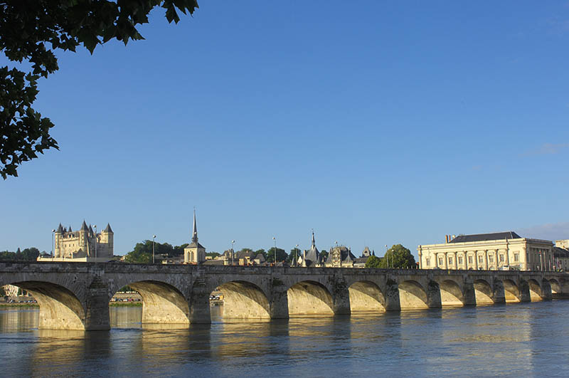 Stone Bridge over Loire River, Saumur, Pays de la Loire, France / Loire valley