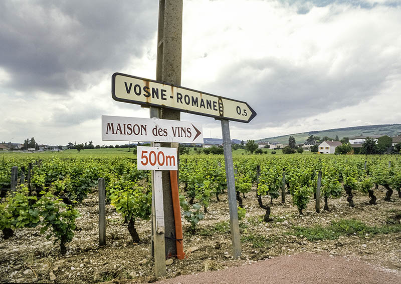 Vosne-Romanee road sign and vineyard at entrance to village Cote d'Or Burgundy France. GPS tagged