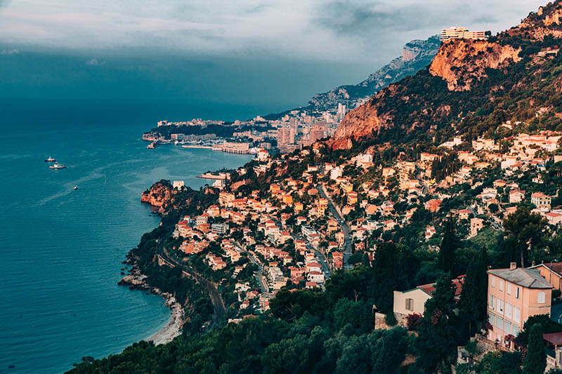 French Riviera coastline looking towards Monte Carlo just after dawn.