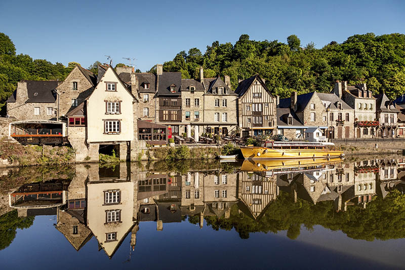 The picturesque medieval port of Dinan on the Rance Estuary Brittany France