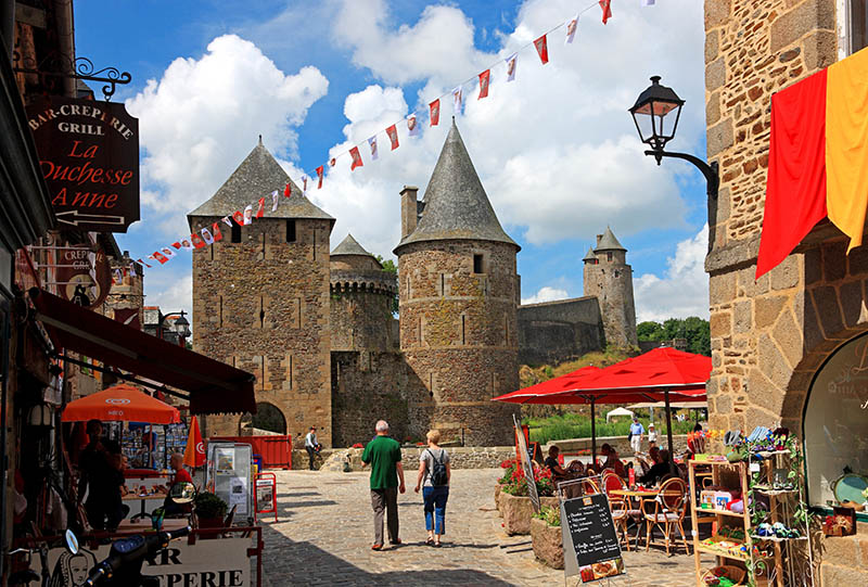 Alleyway in the Old Town with Castle Gate, Fougeres, Departement of Ille et Vilaine