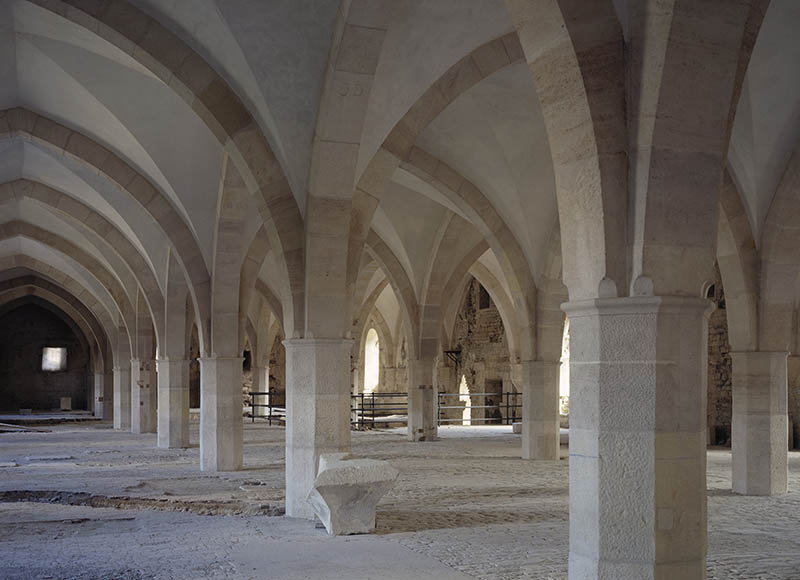 Columns and groin vaults, Clairvaux Abbey (12th century), Cistercian monastery founded by St Bernard of Clairvaux, Citeaux, France.