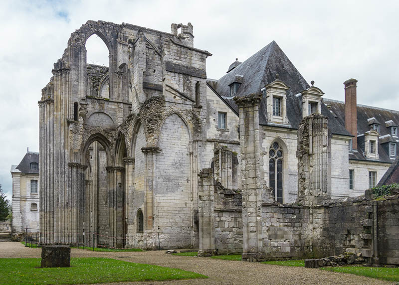the ruins of the Saint Wandrille abbey in northern France