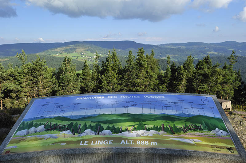 Panorama from the First World War battlefield Le Linge at Orbey, Alsace, France