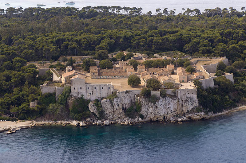 Ile Sainte-Marguerite, Iles de Lerins, View from Helicopter, Cote d'Azur, France.