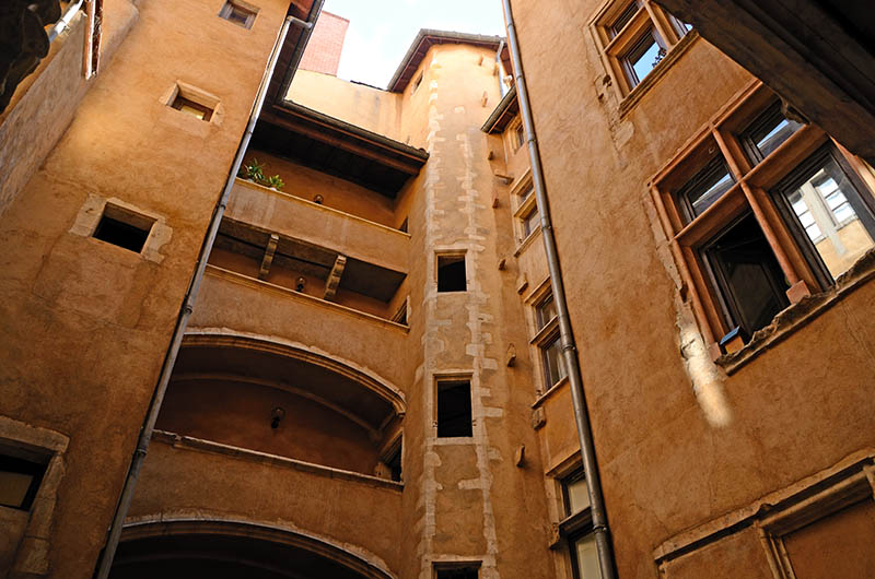 Traboules apartment complex in Old Quarter in Lyon (France).