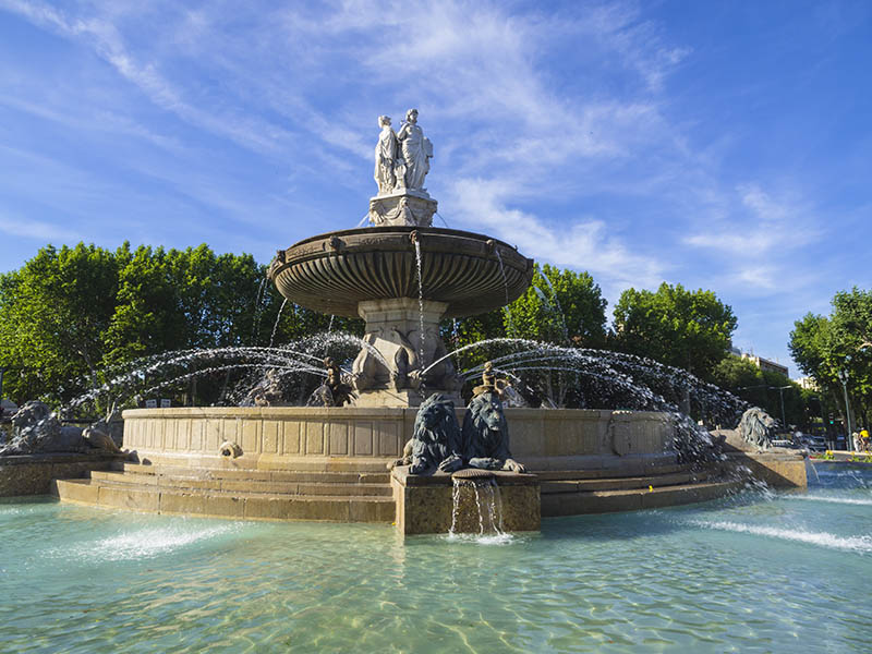 Rotunda fountain in Aix-en-Provence, French spa town, also known as the city of fountains.