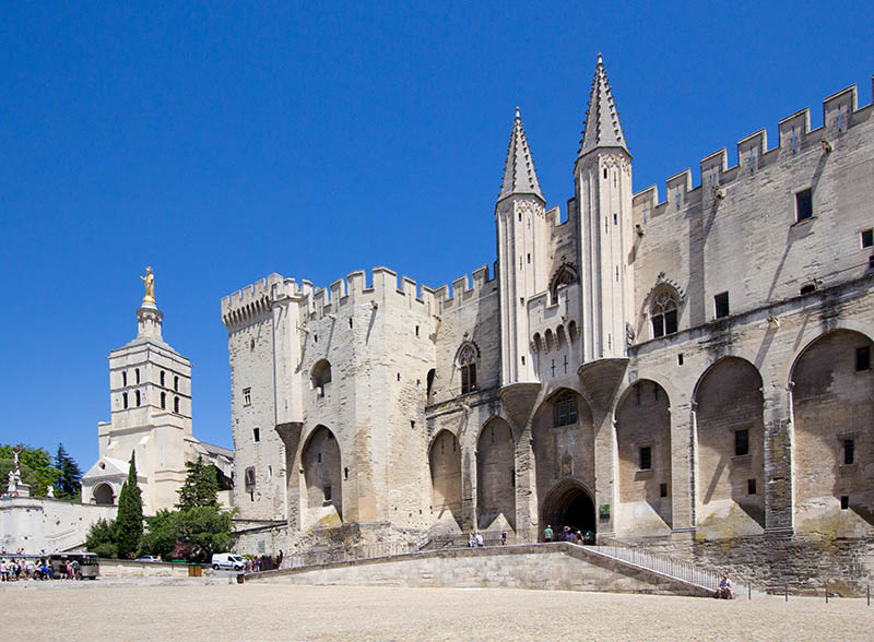 Pope palace in Avignon. Central square, Provence, Cote d'Azur, France