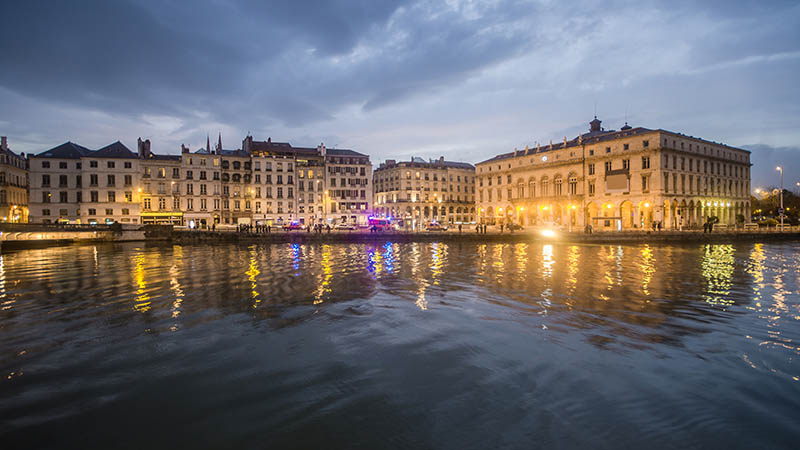 The french city of Bayonne at night. City Hall on the right.