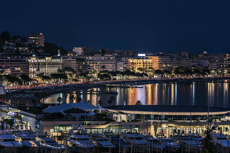 View of the hotels, Croisette avenue and the harbor of the city of Cannes
