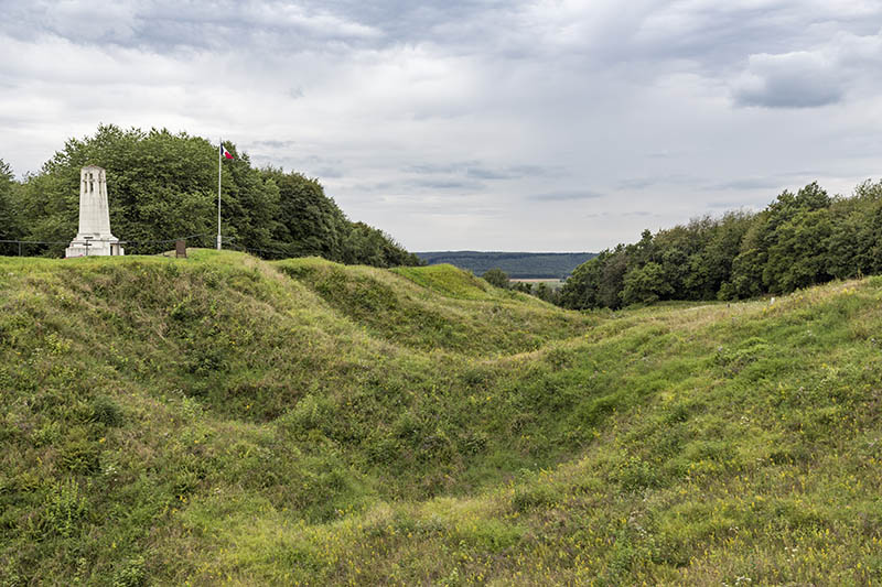VERDUN, FRANCE - AUGUST 19, 2016: Memorial at First World War One battlefield Butte de Vauquois with mine-cratered landscape near Verdun, France