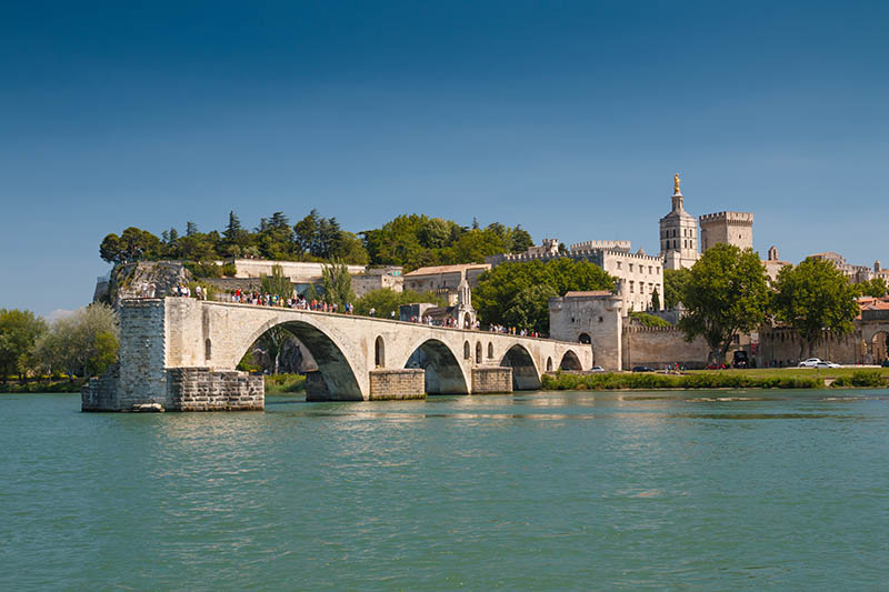 Famous Avignon bridge on river Rhone in France