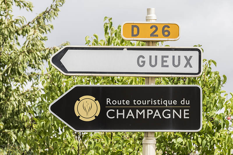Vrigny: Sign of the Champagne route in Champagne-Ardennes, France.