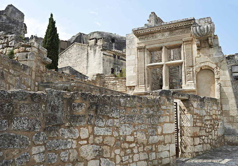 Ancient architecture and remains of Roman buildings in French village Les Baux de Provence, South France