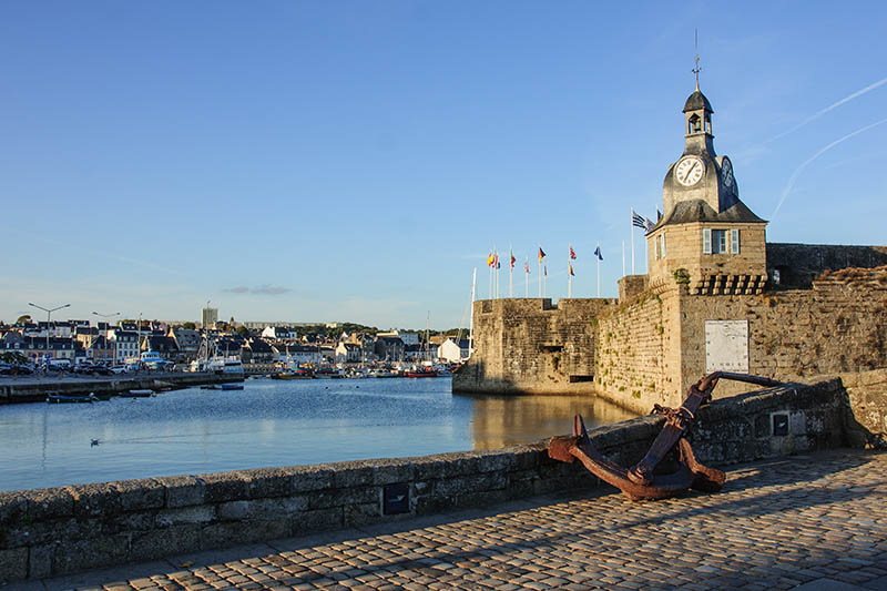 The old walls of ville close, the old core of Concarneau, Brittany, France