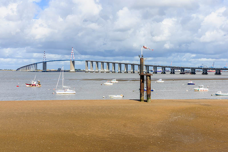 The Saint-Nazaire Bridge (Le pont de Saint-Nazaire), a cable-stayed bridge over the Loire river, linking Saint-Nazaire and Saint-Brevin-les-Pins. The department of Loire-Atlantique, Brittany, France