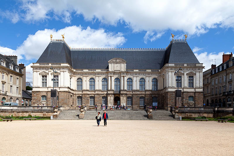 Rennes, France - July 30 2017: The Parlement de Bretagne (Parliament of Brittany), is a building of classical architecture built in the seventeenth century, located in Rennes, Ille-et-Vilaine, and was the seat of the Parliament of Brittany from its construction until its dissolution by the French Revolution in February 1790, apart from his