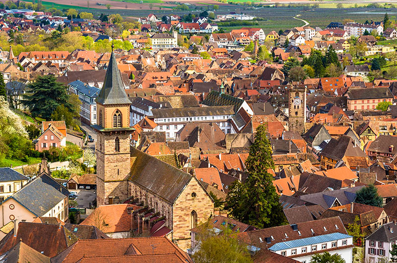 View of the church of Saint Gregoire in Ribeauville - France, Alsace