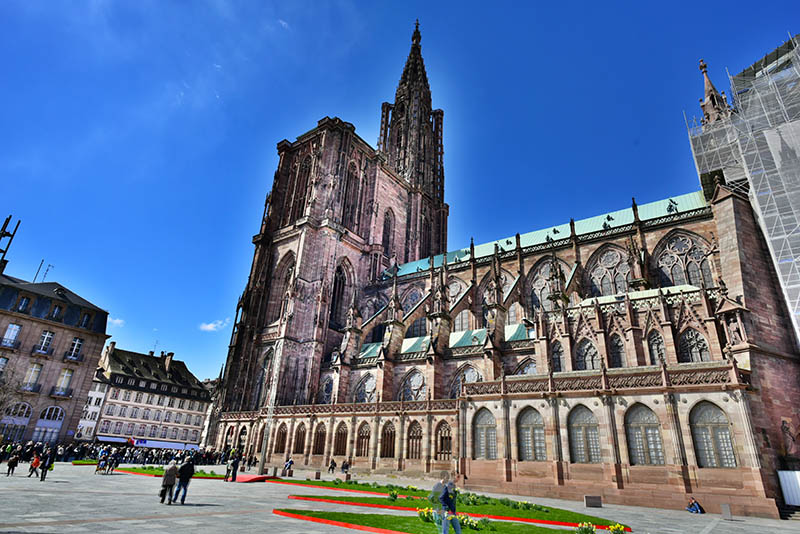Strasbourg, France - 05 April 2015: The tremendous Cathedral Notre Dame from Strasbourg, on the side, which is the 6th tallest church in the world.