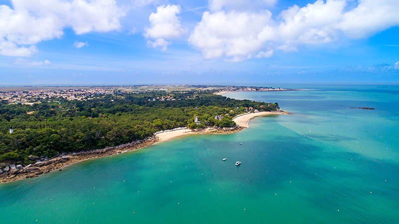 An aerial view of Noirmoutier island coast in Vendee