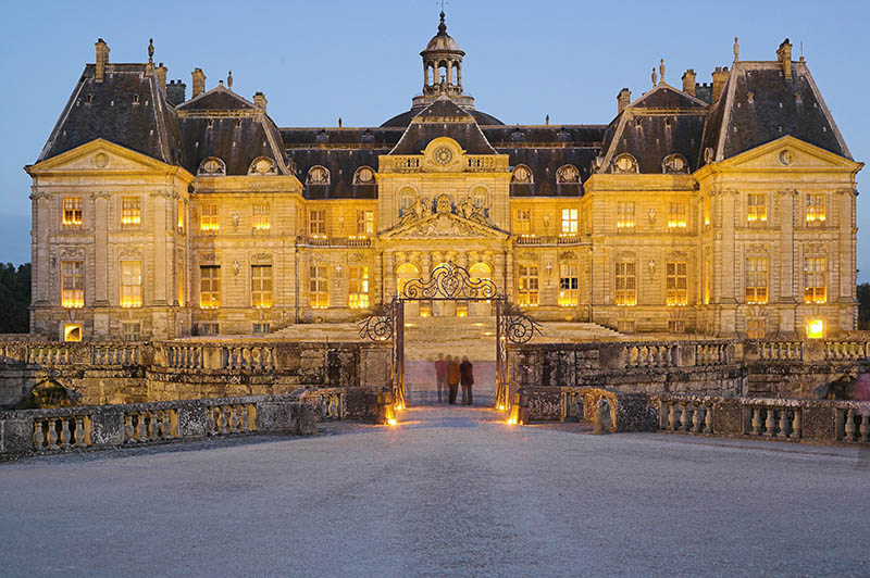 Chateau of Vaux-le-Vicomte illuminated at night. Ile de France. France