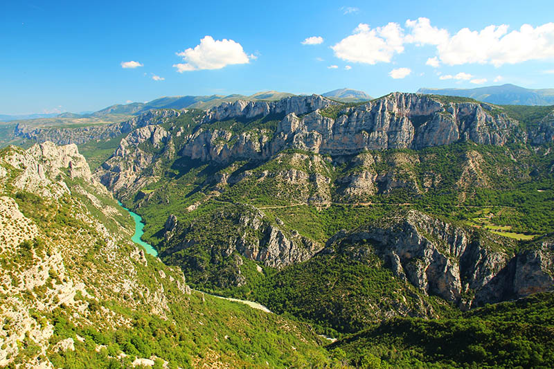 A picturesque landscape in the Verdon Gorge in France.
