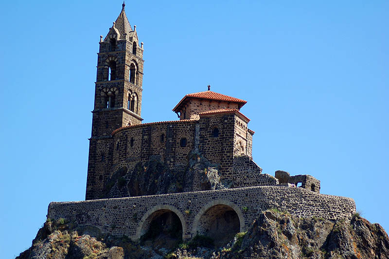 The 12-century cathedral Notre-Dame of Le Puy sits atop the mountain Mon Anicius in the city of Le-Puy-en-Velay, in central France. A UNESCO World Heritage site, this is one of the starting points for the pilgrimage to Spain's Santiago de Compostela.