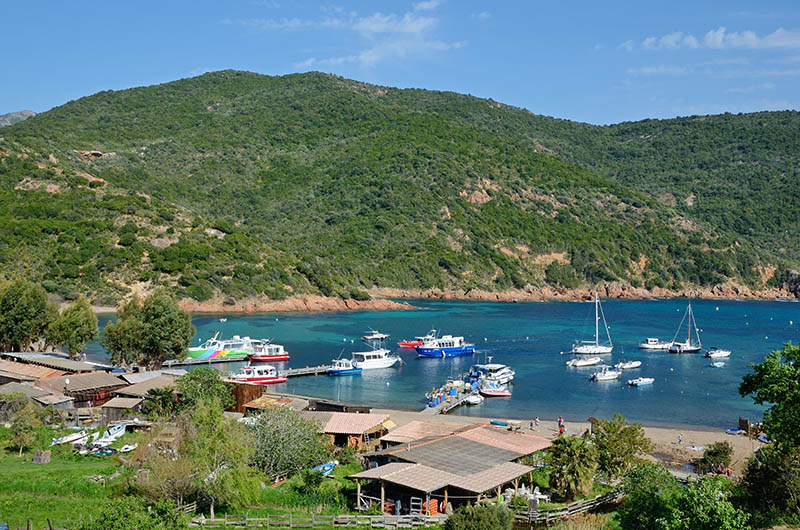 The tiny village is situated on the peninsula in the small natural harbour Golfe de Girolata.