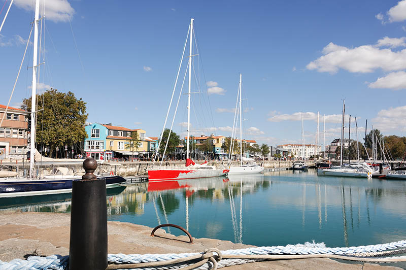 Small boat harbor on the waterfront in La Rochelle on the west coast of France.
