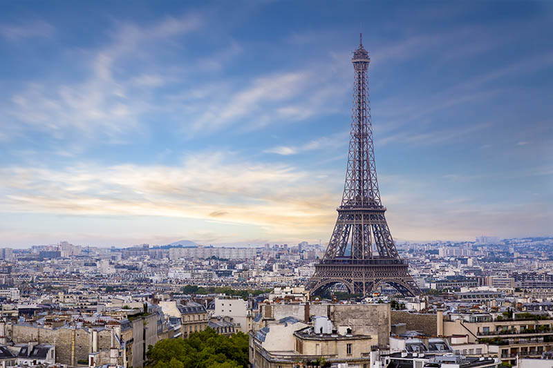Eiffel Tower in Paris France photographed from the top of the Arc de Triompe.