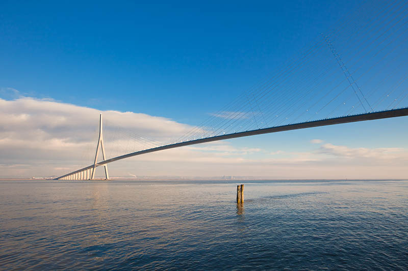 Havre, France - January 3, 2010: Normandy bridge view (Pont de Normandie, France)