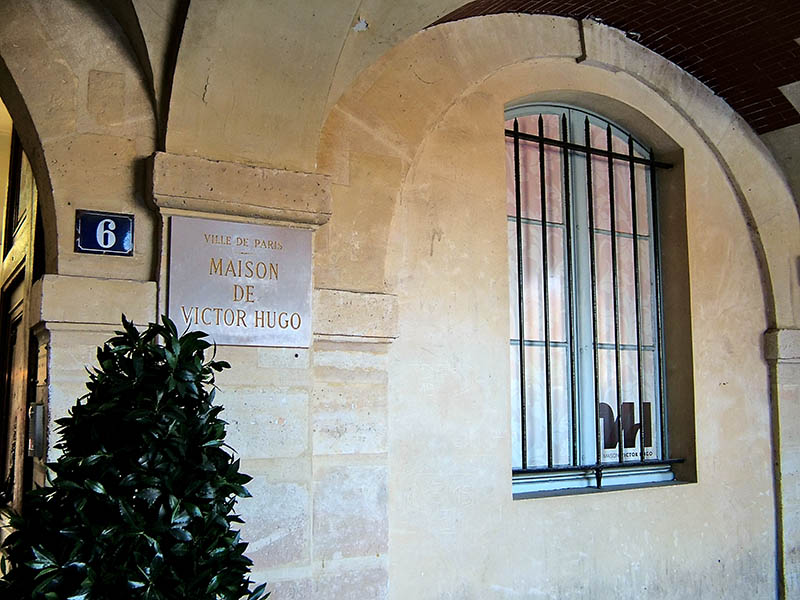 Paris, France - March 20, 2014 - Memorial Plaque apartment of Victor Hugo in the Place des Vosges