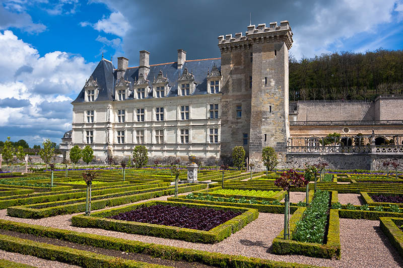 Villandry, France - April 26, 2012: Photography of the Chateau de Villandry in France. A beautiful garden belongs to the Castle. Castle of Villandry is located in the Loire Valley