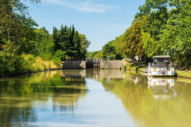canal du midi with a lock near carcasonne