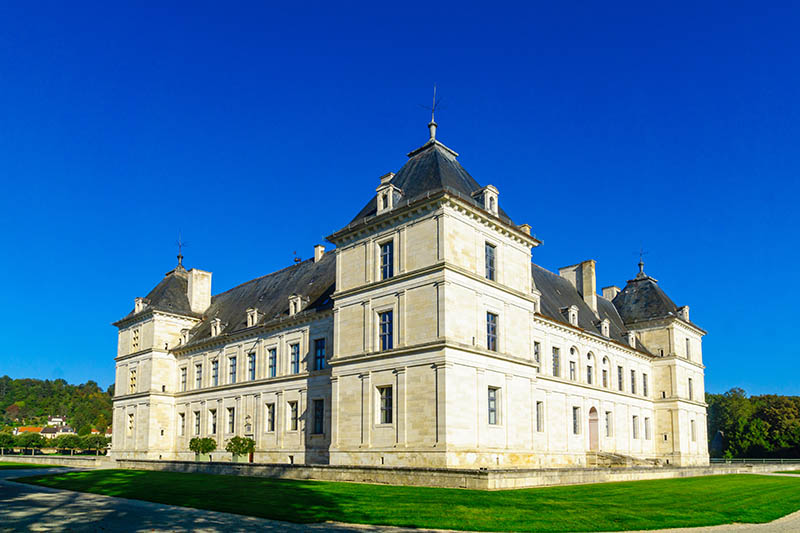 Ancy-Le-Franc, France - October 12, 2016: View of the castle (Chateau) of Ancy-le-Franc, Burgundy, France