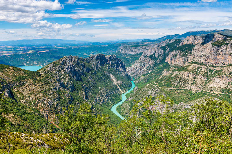 High angle view on the Verdon River and Gorge, Provence, France.
