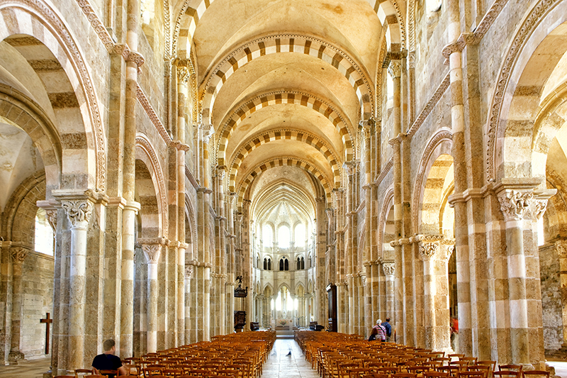 Interior view of Sainte Madeleine basilica in Vezelay Burgundy.