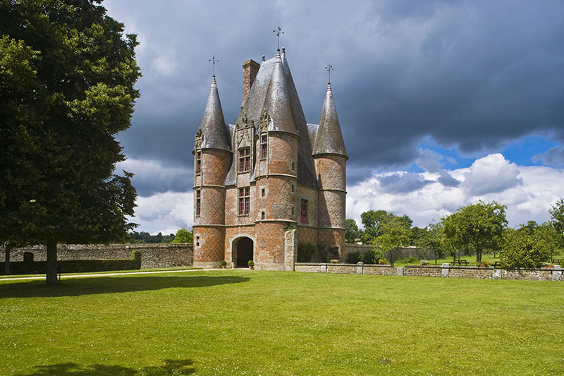 Entrance to the Castle of Carrouges, Normandie-Maine Regional Natural Park. Orne, Basse-Normandie, France