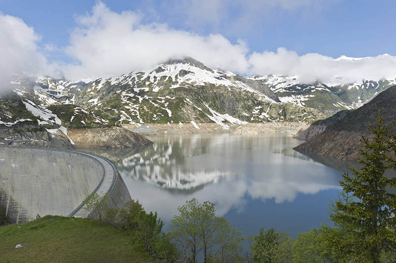 emosson lake and dam, emosson, switzerland