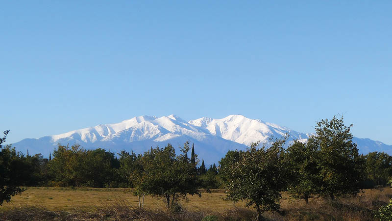 View of Snow Caped Mount Canigou in the Pyrenees-Orientales Department In France