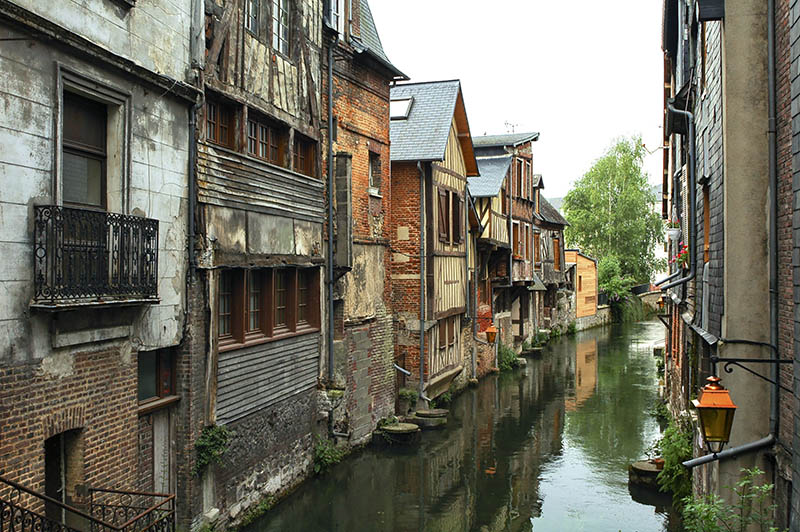 Pont-Audemer (Eure, Normany, France): typical half-timbered houses along a canal