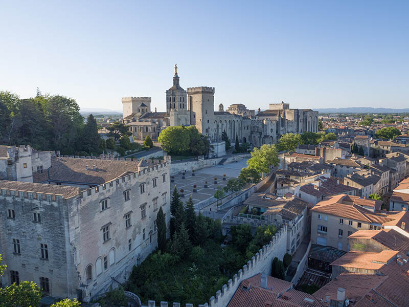 aerial view morning Papal Palace, Avignon, France
