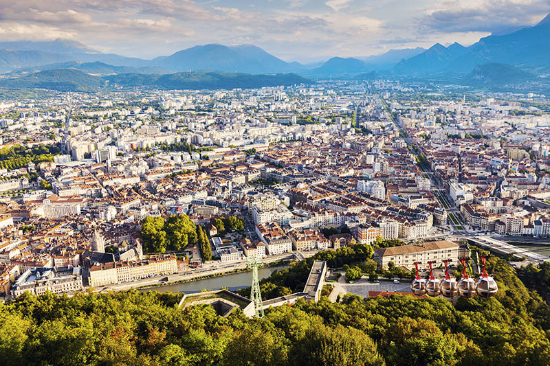 Grenoble - aerial panorama of the city. Grenoble, Auvergne-Rhone-Alpes, France.