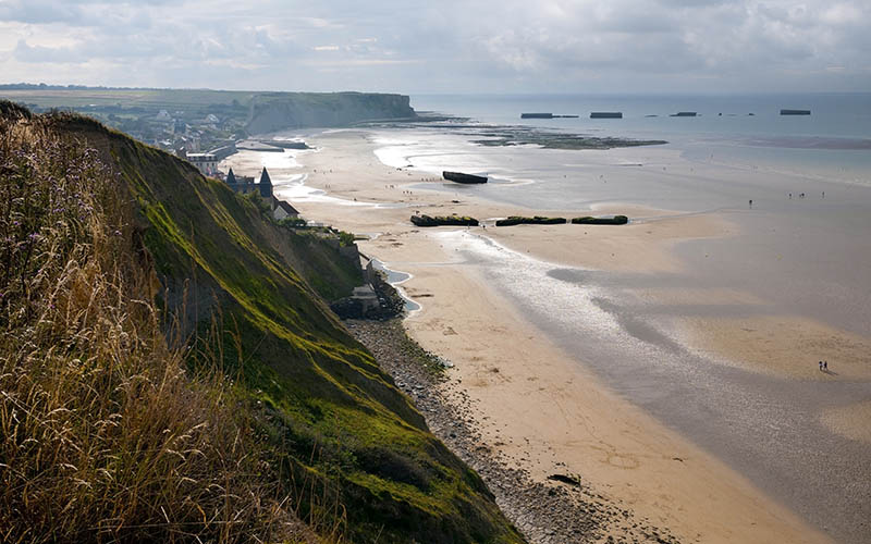remains of artificial Mulberry Harbour at Arromanches, France