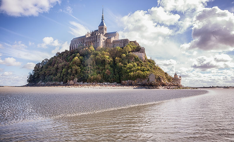 Pano shot of Mont Saint Michel in Normandy France
