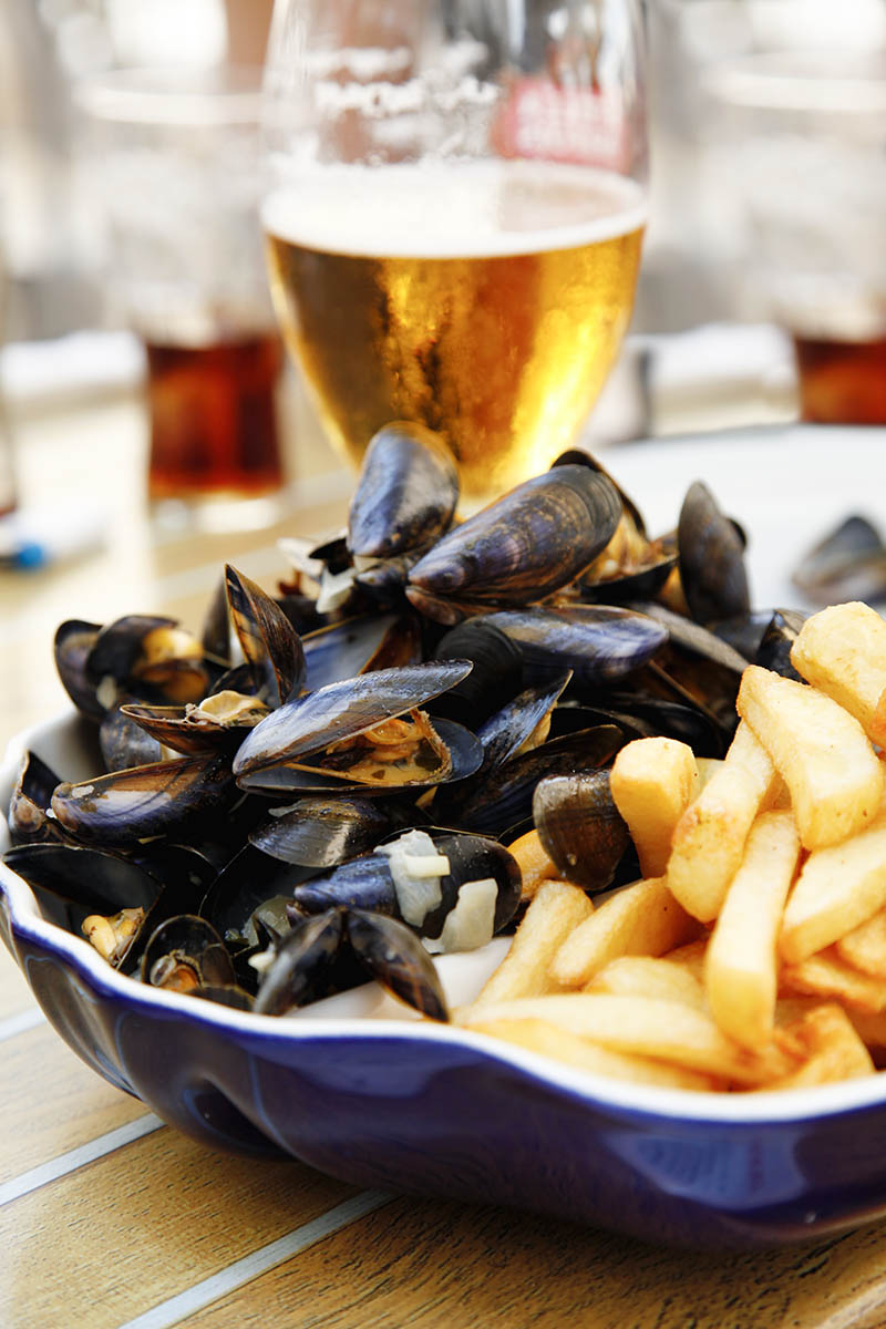 Mussles with chips and beer.More: