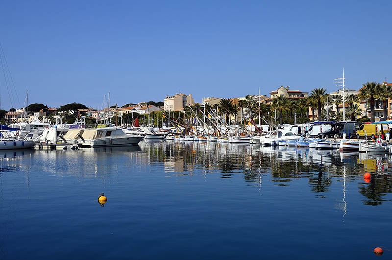Overview of colored Marina and village of Bandol, in France