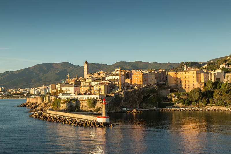 The town, citadel and harbour entrance at Bastia in northern Corsica