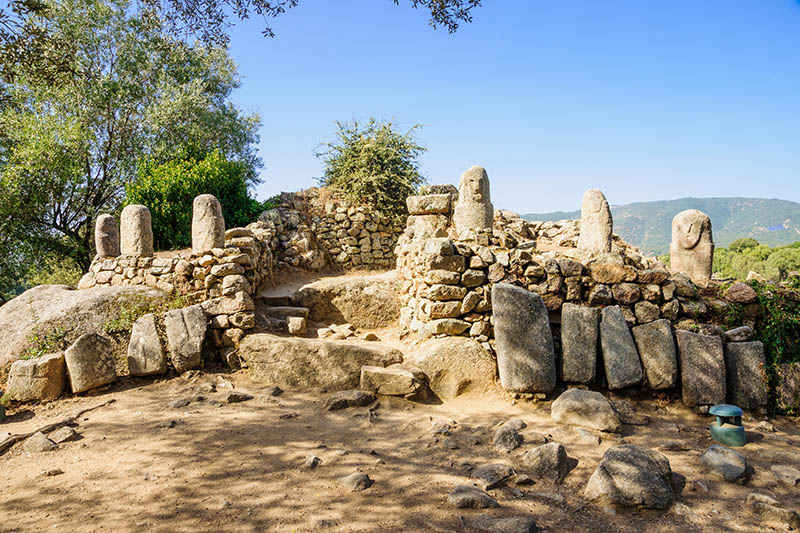 Filitosa,France - October 9, 2014: Menhirs in the megalithic archaeological site of Filitosa, Corsica, France. Filitosa is one of the major sites of Corsican Prehistory