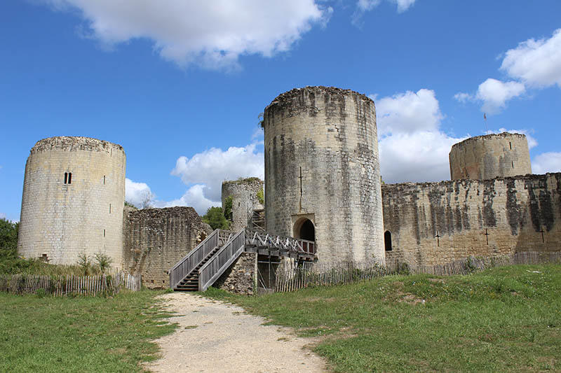 Niort, France- July 21, 2017: The medieval castle of Chateau Coudray- Salbart, in Echire, near Niort. A popular 13th century tourist attraction in Deux- Sevres, currently being restored.